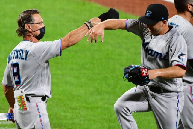 Miami Marlins manager Don Mattingly (L) passed Jack McKeon on the all-time wins list after a victory against the Baltimore Orioles on Thursday in Baltimore. Photo by David Tulis/UPI