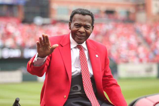 National Baseball Hall of Fame member Lou Brock waves to fans before a game in April 2019 at Busch Stadium in St. Louis. Brock was elected into the Hall of Fame in 1985. File Photo by Bill Greenblatt/UPI