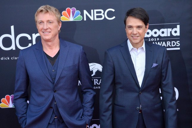 William Zabka (L) and Ralph Macchio will be seen in Season 3 of Cobra Kai, which will premiere on Jan. 1 on Netflix. File Photo by Jim Ruymen/UPI