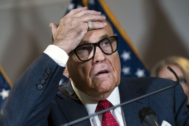 Trump campaign attorney Rudolph Giuliani is seen during a news conference on November 19 at Republican National Committee headquarters in Washington, D.C., which challenged President-elect Joe Biden's electoral victory. File Photo by Kevin Dietsch/UPI