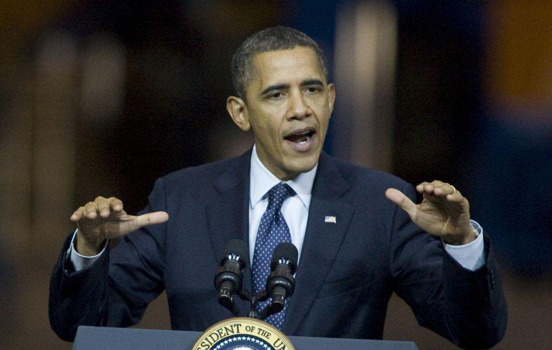 President Barack Obama at the aerospace giant's assembly facility in Everett, Washington on February 17, 2012. UPI/Jim Bryant