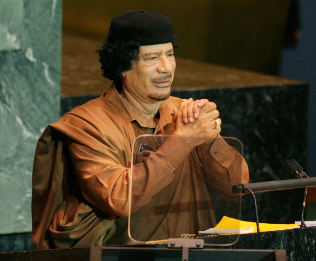 Embattled Libyan leader Moammer Gadhafi, whose retirement or resignation could bring an end to the civil war in Libya. UPI /Monika Graff