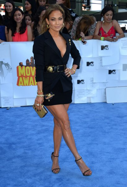 Actress and musician Jennifer Lopez arrives for the MTV Movie Awards at Nokia Theatre L.A. Live in Los Angeles on April 12, 2015. Photo by Jim Ruymen/UPI