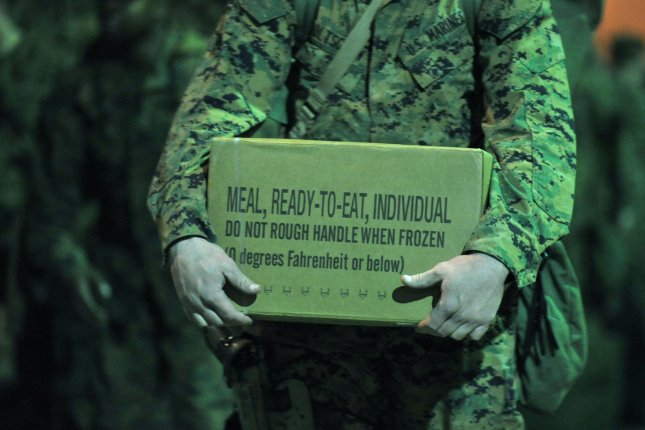 An Army study is seeking participants to eat nothing but MREs, or meals ready to eat, in order to determine how gut health affects soldiers. File photo by Kevin Dietsch/UPI
