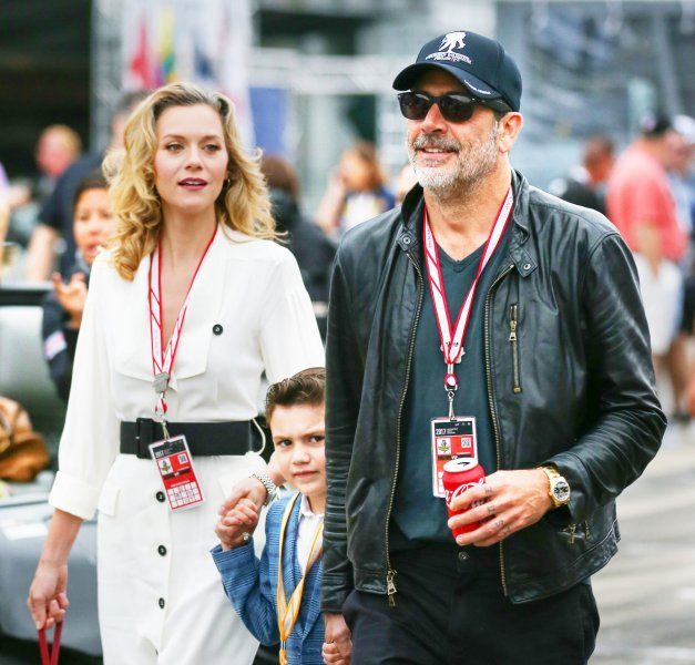 Jeffrey Dean Morgan (R), pictured with Hilarie Burton and son Augustus, enjoyed a damn fine birthday with his kids. File Photo by Mike Gentry/UPI