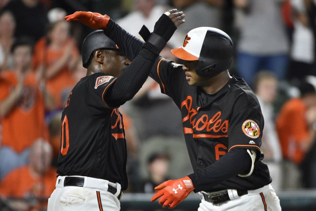 Baltimore Orioles' Jonathan Schoop (R) is congratulated by Adam Jones (L) at Camden Yards in Baltimore, Md. File photo by David Tulis/UPI