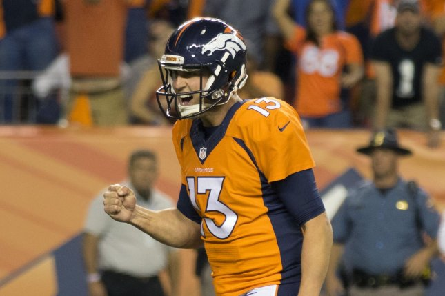 Former Denver Broncos quarterback Trevor Siemian signed a one-year, $2 million deal with the New York Jets on Wednesday. File Photo by Gary C. Caskey/UPI