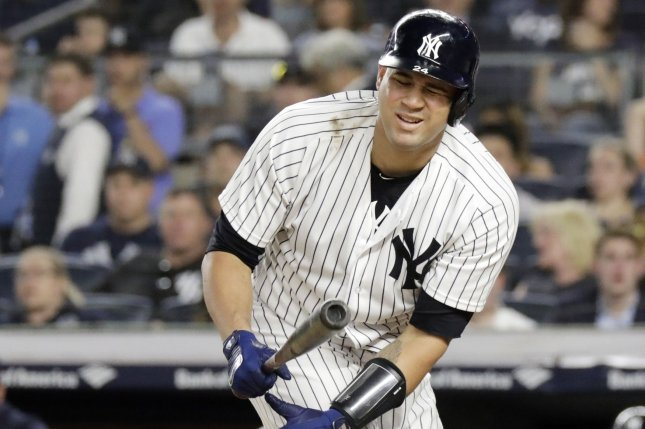 New York Yankees catcher Gary Sanchez has a .229 batting average with 24 home runs and 58 RBIs this season. File Photo by John Angelillo/UPI