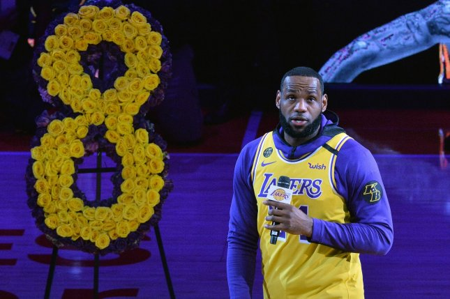 Los Angeles Lakers star LeBron James referred to the late Kobe Bryant as a brother and the best dad he has seen over the last three years during a pregame speech honoring Kobe before a game against the Portland Trail Blazers Friday in Los Angeles. Photo by Jim Ruymen/UP