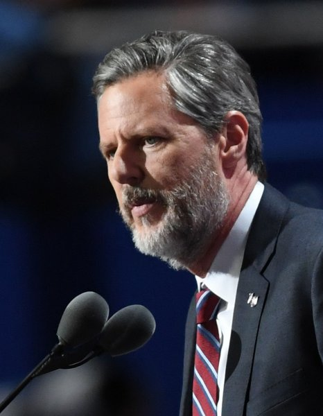 Jerry Falwell Jr. speaks in support of then-Republican presidential nominee Donald Trump at the Republican National Convention in Cleveland, Ohio, on July 21, 2016. File Photo by Pat Benic/UPI