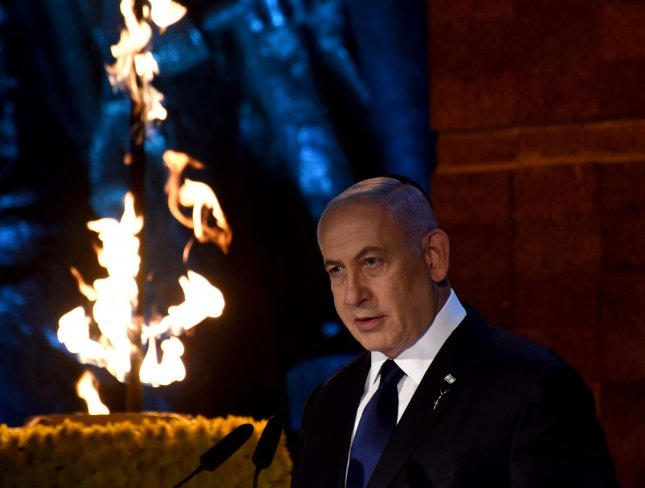 Israeli Prime Minister Benjamin Netanyahu delivers a speech at the opening ceremony of the Holocaust Remembrance Day at the Yad Vashem Holocaust Museum in Jerusalem, on Wednesday. Photo by Debbie Hill/UPI