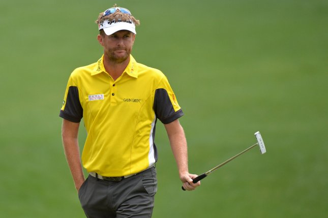 David Lynn, shown at the 2013 Masters, teamed with Scott Jamison for a key Great Britain-Ireland win at the Seve Cup. Continental Europe leads 5 1/2-4 1/2 in the competition, however. UPI/Kevin Dietsch