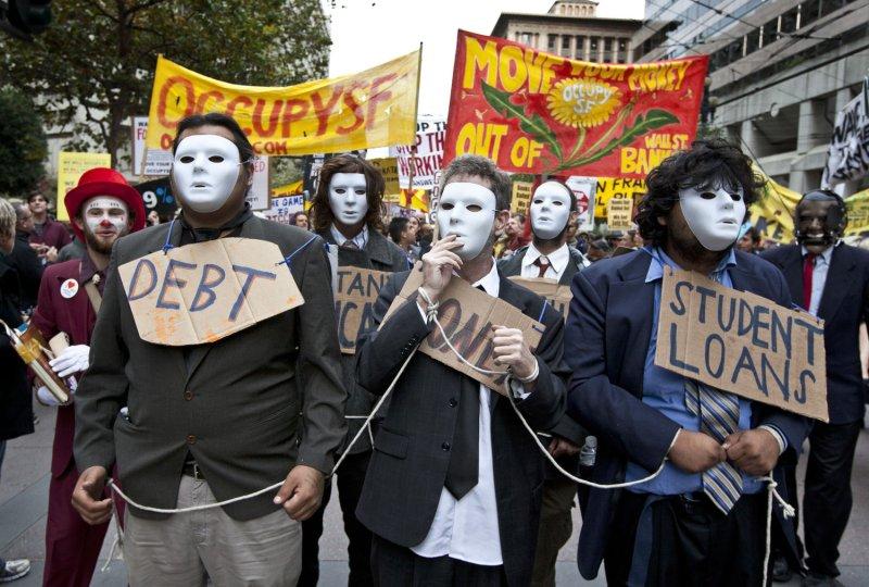 Occupy San Francisco demonstrators march on Market Street Nov. 5, 2011. UPI/Terry Schmitt