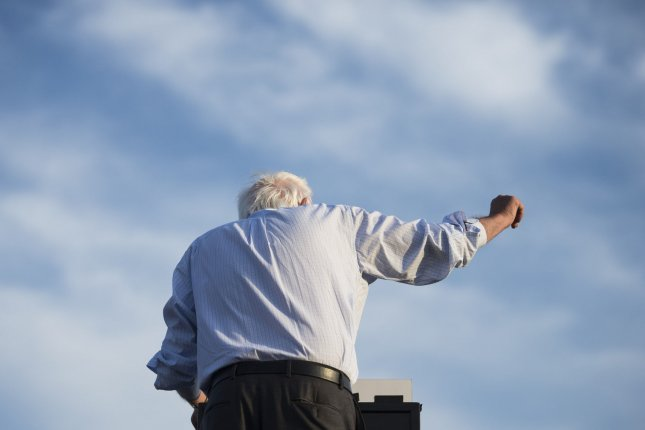 Democratic presidential candidate Bernie Sanders delivers remarks at a campaign rally near Robert F. Kennedy Stadium in Washington, D.C., on Thursday evening, June 9, 2016. Sanders said he will do everything in his power to defeat the Republican presumptive nominee Donald Trump. Photo by Kevin Dietsch/UPI