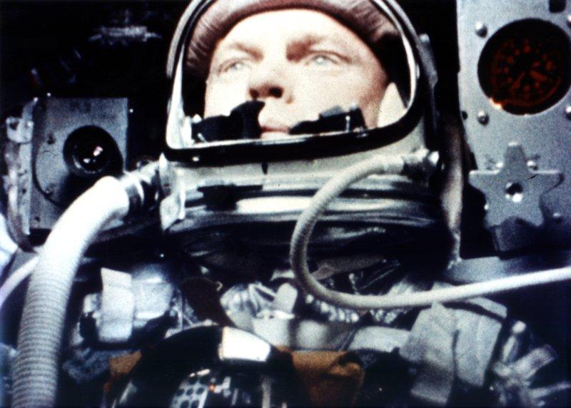 Astronaut John H. Glenn Jr. as he appeared February 20, 1966, aboard Friendship 7 during the first manned Earth orbital flight. NASA/UPI