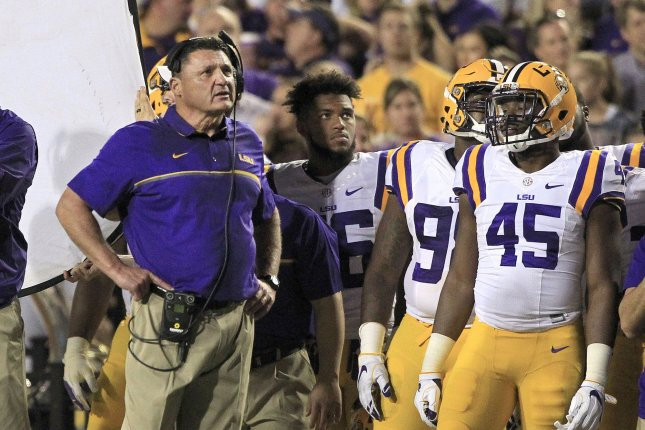 LSU Tigers head coach Ed Orgeron looks up at the scoreboard at Tiger Stadium during the game with Alabama Crimson Tide in Baton Rouge, La. November 5, 2016. File photo by AJ Sisco/UPI