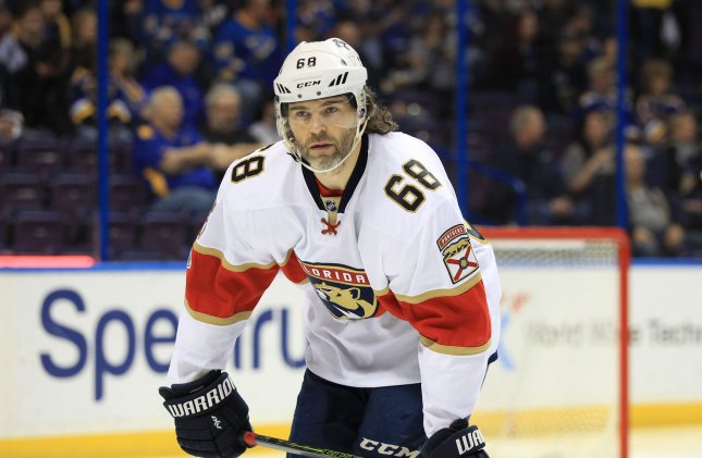 Jaromir Jagr of the Florida Panthers waits for the drop of the puck to start a game against the St. Louis Blues last season. Photo by Bill Greenblatt/UPI