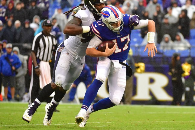 Buffalo Bills quarterback Josh Allen (17) is sacked by Baltimore Ravens linebacker Za'Darius Smith (90) in the fourth quarter on September 9, 2018 at M&T Bank Stadium in Baltimore, Maryland. Photo by Kevin Dietsch/UPI