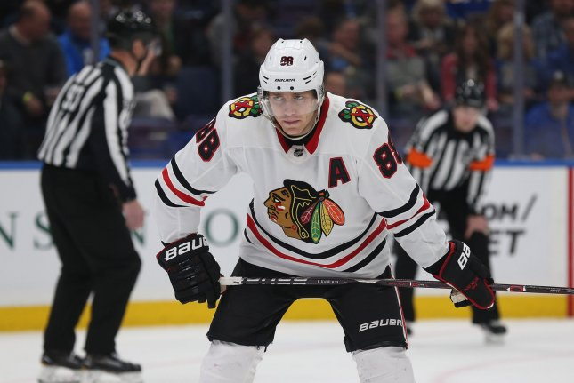Chicago Blackhawks winger Patrick Kane (88) found Alex DeBrincat for one of his goals in the first period Monday night. File Photo by Bill Greenblatt/UPI