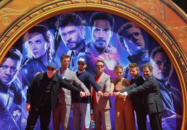 President of Marvel Studios/producer Kevin Feige, and actors Chris Hemsworth, Chris Evans, Robert Downey Jr., Scarlett Johansson, Jeremy Renner and Mark Ruffalo participate in a hand and footprint ceremony immortalizing them in the forecourt of the TCL Chinese Theatre (formerly Grauman's) in Los Angeles on April 23. Photo by Jim Ruymen/UPI