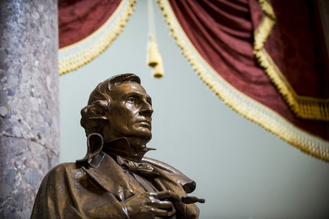 Statue of Jefferson Davis, president of the Confederacy during the Civil War, stands in Statuary Hall in the United States Capitol on August 17, 2017. Photo by Pete Marovich/UPI