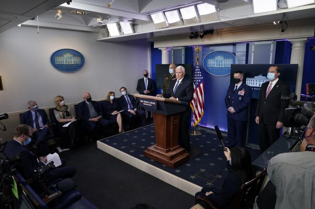 Vice President Mike Pence participates in a briefing with members of the White House Coronavirus Task Force at the White House on Thursday. Photo by Chris Kleponis/Pool