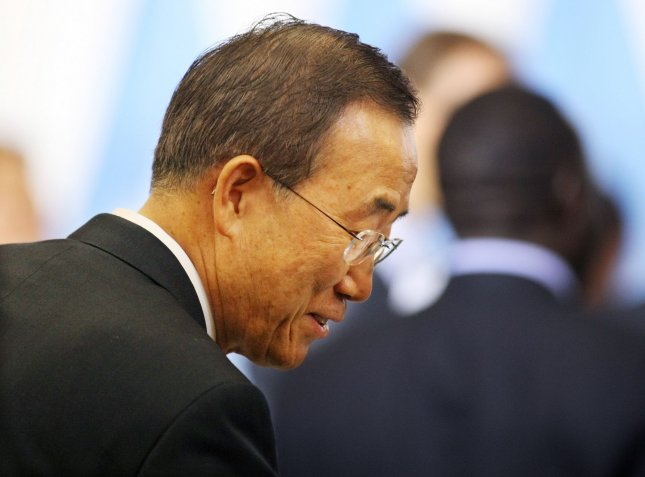 Secretary General Ban Ki-moon greets people before the start of a high-level meeting on Sudan during the 65th session of the United Nations General Assembly at the UN on September 24, 2010 in New York. UPI/Monika Graff