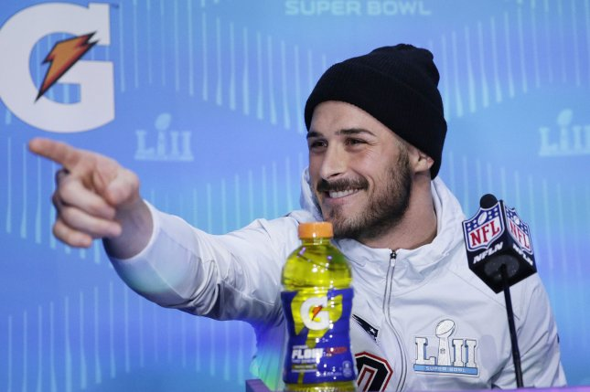 New England Patriots wide receiver Danny Amendola speaks to the media at Super Bowl LII Opening Night Monday at Xcel Energy Center in Minneapolis, Minn. Photo by John Angelillo/UPI