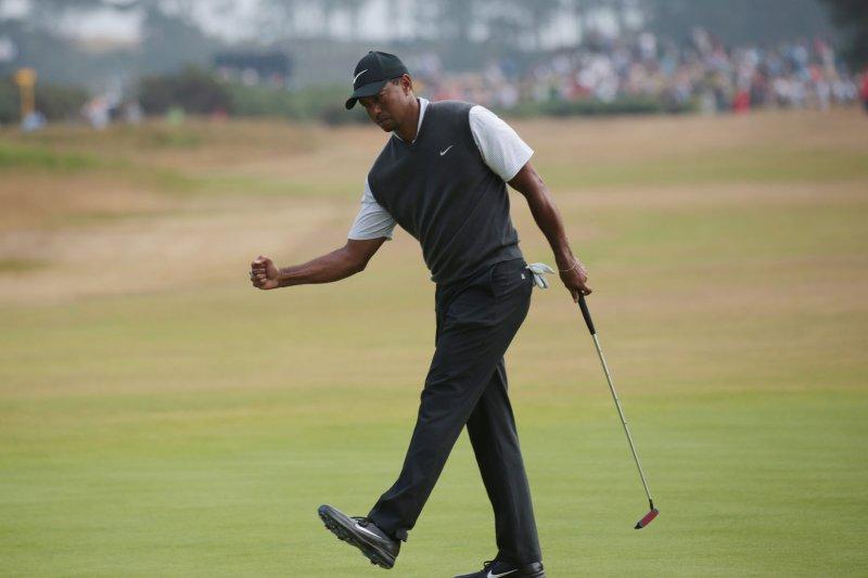 Tiger Woods shot a first round of 66 at the 2018 WGC-Bridgestone Invitational Thursday in Akron, Ohio. Photo by Hugo Philpott/UPI