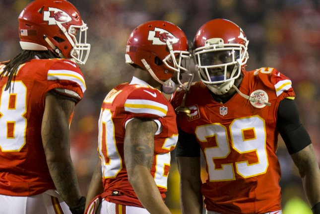 Kansas City Chiefs strong safety Eric Berry (29) celebrates a tackle with cornerback Steven Nelson and ex-Chiefs defensive back Vernon Harris in the second quarter against the Pittsburgh Steelers on January 15, 2017 at Arrowhead Stadium in Kansas City. Photo by Kyle Rivas/UPI