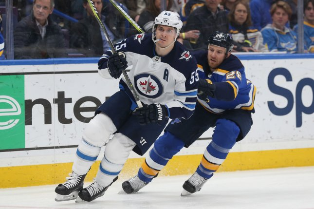 Winnipeg Jets center Mark Scheifele (L) has 53 points this season and is on pace for his third straight point per game season. File photo by Bill Greenblatt/UPI