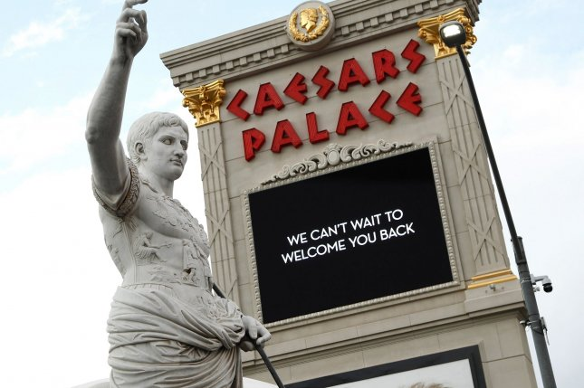 A view of the Caesars Palace marquee on Las Vegas Boulevard March 26. Closed since the coronavirus pandemic, the establishment will reopen Thursday. Photo by James Atoa/UPI