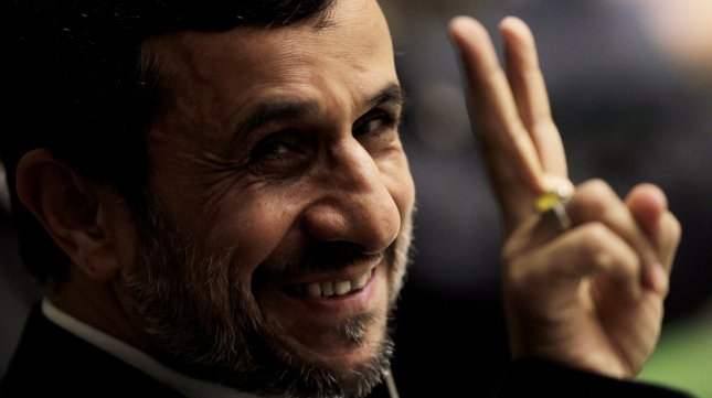 His Excellency Mahmoud Ahmadinejad, President of the Islamic Republic of Iran gives the peace sign to photographers before he addresses the United Nations at the 67th United Nations General Assembly in the UN building in New York City on September 26, 2012. UPI/John Angelillo