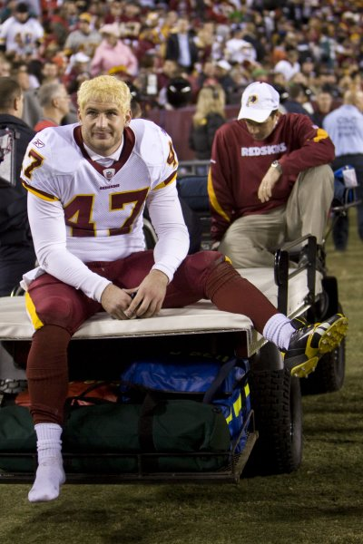 Washington Redskins tight end Chris Cooley rides off the field with an injury during Philadelphia Eagles game in Landover, Maryland on October 26, 2009. UPI/ Madeline Marshall