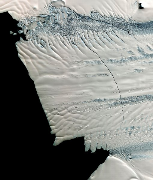 A massive 19-mile crack across the Pine Island Glacier, a major ice stream that drains the West Antarctic Ice Sheet. It is the melting of land ice that could be causing the increase in sea ice. UPI/ NASA
