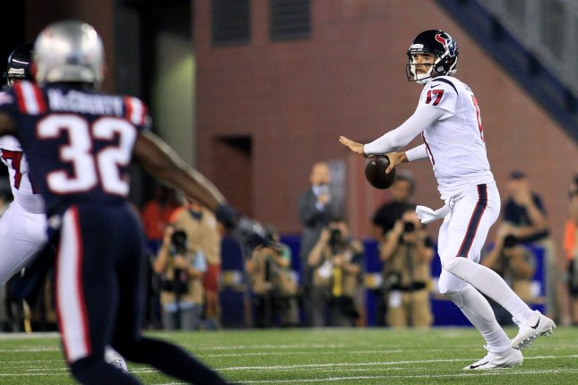 Houston Texans quarterback Brock Osweiler (17) drops back for a pass in the second quarter against the New England Patriots at Gillette Stadium in Foxborough, Massachusetts on September 22, 2016. Photo by Matthew Healey/ UPI