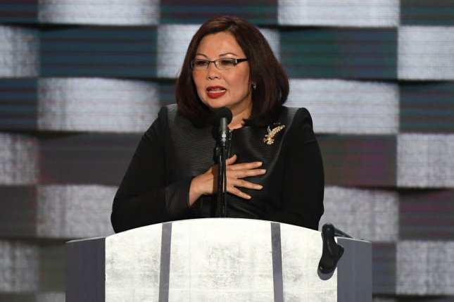 U.S. Rep. Tammy Duckworth of Illinois addresses delegates during Day 4 of the Democratic National Convention at Wells Fargo Center in Philadelphia on July 28. File Photo by Pat Benic/UPI