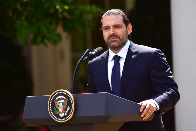 Prime Minister Saad al-Hariri of Lebanon speaks during a joint news conference with President Donald Trump outside the White House on July 25. He submitted his resignation Saturday. File Photo by Kevin Dietsch/UPI