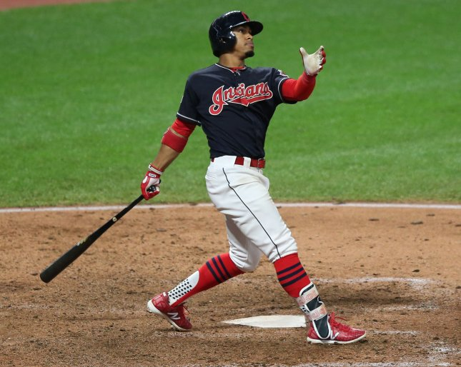 Cleveland Indians shortstop Francisco Lindor (R) watches his grand slam home run in the sixth inning against the New York Yankees during the ALDS Game two on October 6, 2017 in Cleveland. Photo by Aaron Josefczyk/UPI