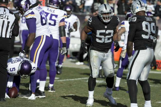Oakland Raiders defensive end Khalil Mack (52) celebrates a sack of Minnesota Vikings quarterback Teddy Bridgewater (5) for a loss of six yards in the second quarter on November 15, 2015 at O.co Coliseum in Oakland, California. File photo by Terry Schmitt/UPI