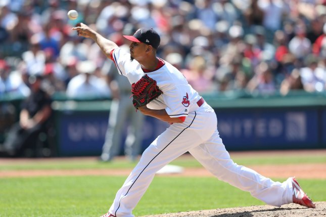 Cleveland Indians Carlos Carrasco has struggled over his last three starts, seeing his ERA jump to 4.98 while sporting a 3-4 record on the season. File Photo by Aaron Josefczyk/UPI