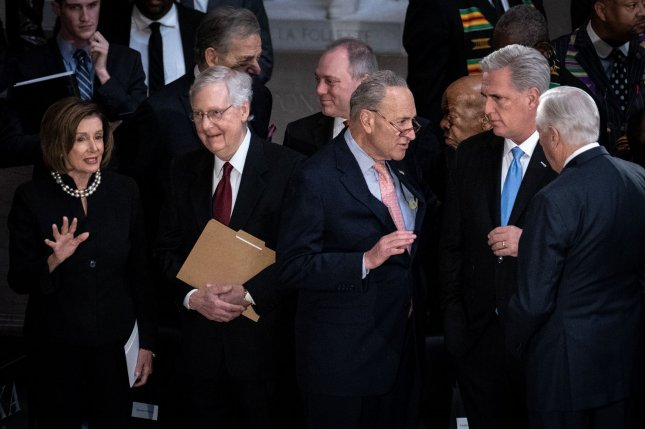 Senate Republican leader Mitch McConnell (center-left) and Senate Democratic leader Chuck Schumer (center-right) attend a memorial service on October 24 for late Maryland Rep. Elijah Cummings at the U.S. Capitol in Washington, D.C. File Photo by Erin Schaff/UPI/Pool