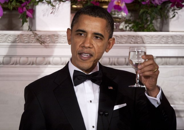U.S. President Barack Obama makes a toast at the start of the 2011 Governors Dinner at the White House in Washington on February 27, 2011. UPI/Joshua Roberts/POOL