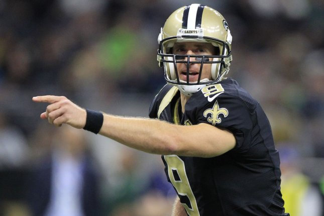 New Orleans Saints quarterback Drew Brees (9) changes the play at the line against the Seattle Seahawks at the Mercedes-Benz Superdome in New Orleans October 30, 2016. Photo by AJ Sisco/UPI