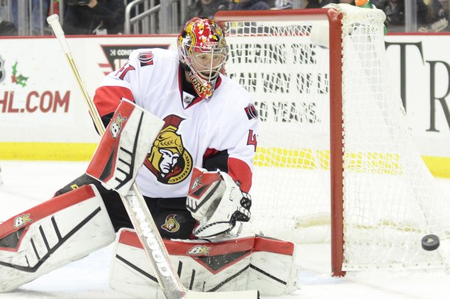 Craig Anderson made 34 saves as Ottawa ended a four-game losing streak with a 3-2 victory over the Bruins. File Photo by Archie Carpenter/UPI