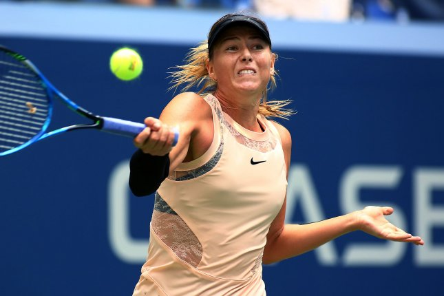 Maria Sharapova of Russia returns the ball to Anastasija Sevastova of Latvia in the second set of their fourth-round match at the US Open Tennis Championships at the USTA Billie Jean King National Tennis Center in New York City on September 3, 2017. File photo by Monika Graff/UPI