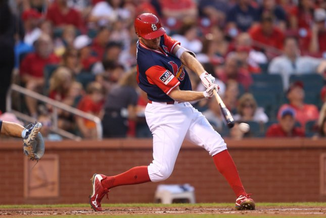 Former St. Louis Cardinals outfielder Stephen Piscotty has been traded to the Oakland Athletics. Photo by Bill Greenblatt/UPI