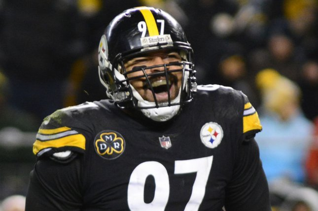 Pittsburgh Steelers defensive end Cameron Heyward celebrates a sack during a game against the Green Bay Packers last season. Photo by Archie Carpenter/UPI
