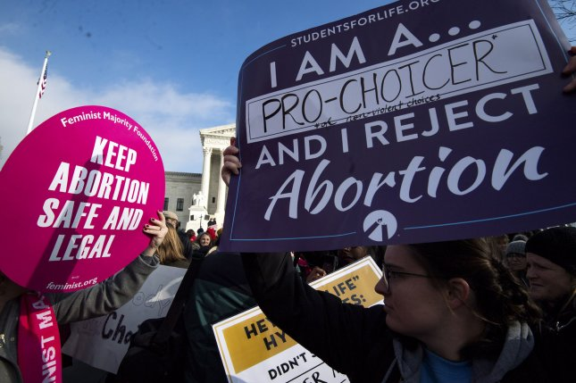 Demonstrators rally for and against abortion rights at the U.S. Supreme Court building in Washington, D.C., on January 18. File Photo by Kevin Dietsch/UPI