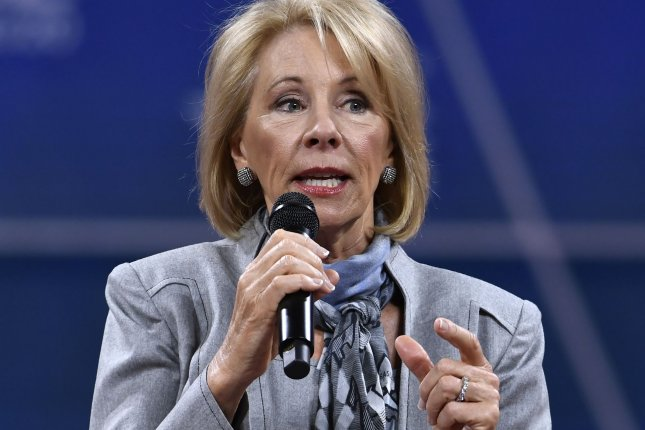 The Senate voted to reverse a rule on Wednesday reducing protections for student loan borrowers whose colleges misrepresented themselves. The rule was designed by Education Secretary Betsy DeVos, here at the Conservative Political Action Conference on February 27, 2020. File Photo by Mike Theiler/UPI